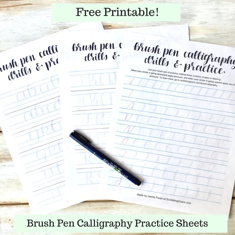 Brush Pen Calligraphy Basics- Plus Free Printable Practice Sheets! -  Scribbling Grace